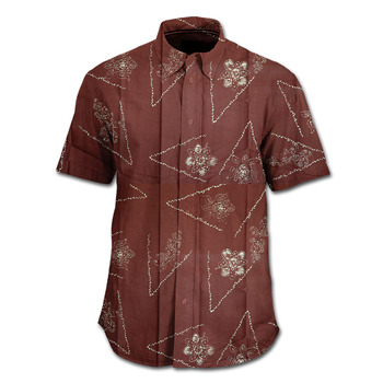 High Quality Stamped Batik Shirts Indonesia Black Orchid Tendril Pattern