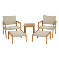 Modern Design Rattan and Teak Frame Conversation Set Patio Garden Furniture