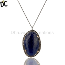 Pave Diamond and Natural Blue Sapphire Gemstone Pendant 14K Gold 925 Silver Pendants Supplier