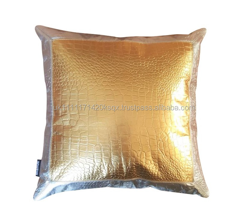 Leather Cushion Cover - Crocodile embossed pattern - Silver & gold square