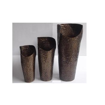 Rough Hammered patterns Vase in antique brass finish made in Sheet Aluminium