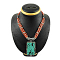 Resplendent Coral & turquoise necklace 925 sterling silver necklaces jewelry handmade india
