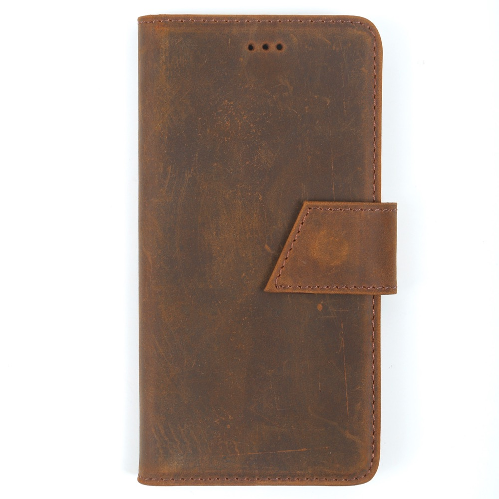 Genuine Vintage Crazy Cow Leather Luxury Handmade Flip Cover Wallet for Iphone