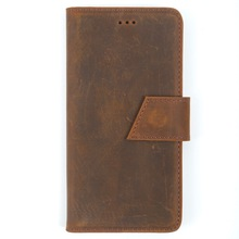 Genuine Vintage Crazy Cow Leather Luxury Handmade Flip Cover Wallet Phone Case