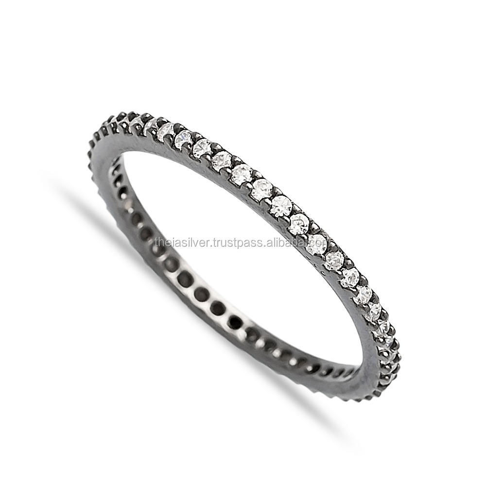 Turkish Wholesale Designs For Girl Handcrafted Silver Pave Ring