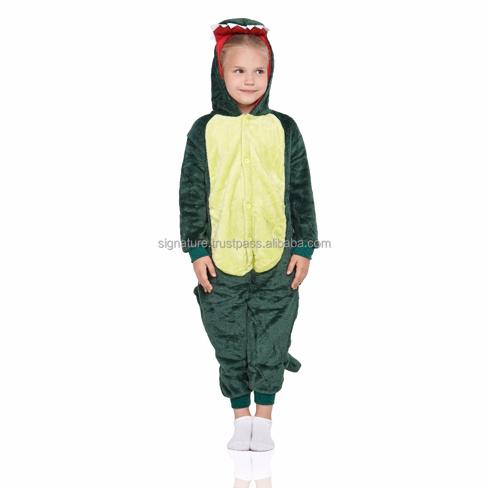 Dinosaur Kids Kigurumi With Hood Butt Flap Pockets Pajamas Plush Onesie Animal Cosplay Costume Onsie Jumpsuit Home Clothes