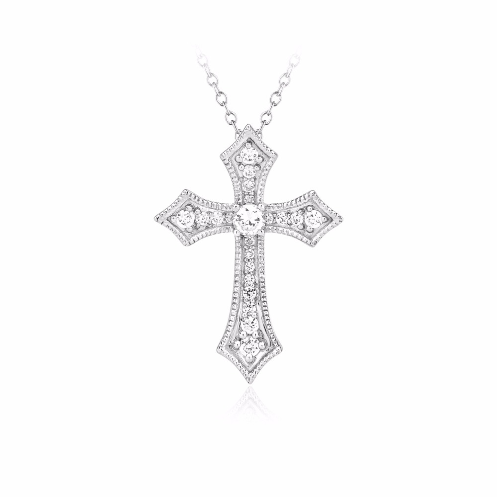Certified 0.33 Ct. Real Genuine Natural Diamond Cross Pendant .925 Solid Sterling Silver