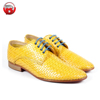 Handmade leather brogue pattern derby style women yellow shoes