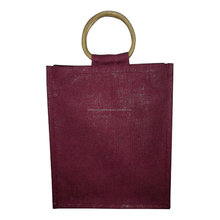 Trendy six bottle with cane handle jute wine bag
