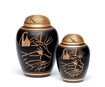 Dome Top Black Cat Face Cremation Urn from India