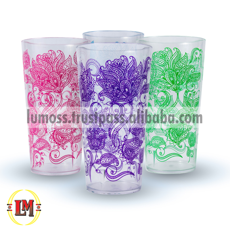Plastic Drinking Tumbler/Glass with Henna Print - 600ml