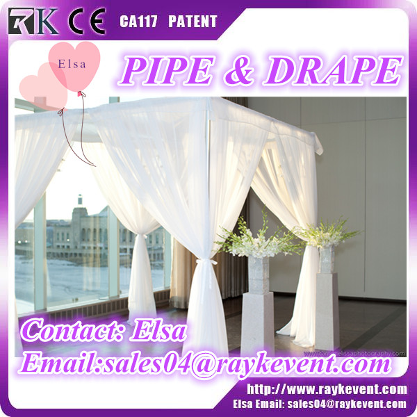 New design white pipe and drape kits pipe and drape wedding backdrop used pipe and drape for sale