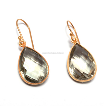 925 Sterling silver Green Amethyst Quartz Gemstone Vermeil drop Earrings