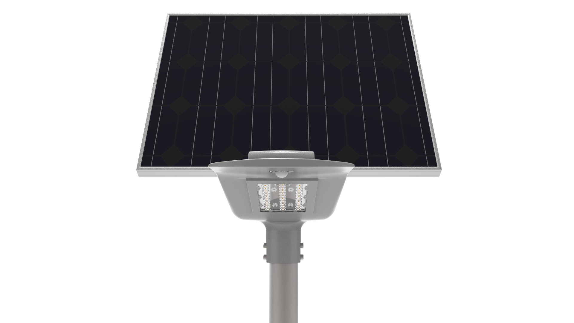 Die-casting aluminum semi-integrated all in one solar power street led light with lithium battery and mobile APP remote control
