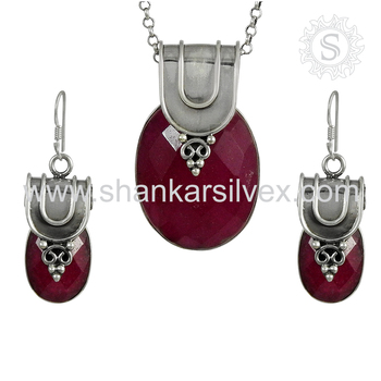 Vintage design ruby gemstone jewelry set handmade 925 sterling silver jewellery supplier exporter