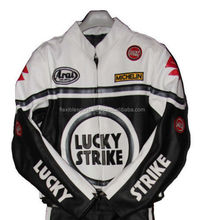 Lucky Strike Motorcycle Racing Pure Leather Jacket White Black for Men SX to 6XL