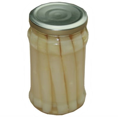 High quality canned asparagus in glass jar