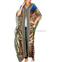 Adult designer free size wholesale beach Satin Silk Digital Printed Stylish Kaftan 100% Georgette Digital caftan Woman's kaftan