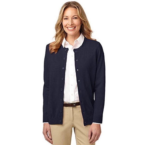 Port Authority Ladies Value Jewel-Neck Cardigan Sweater - 100% acrylic, 8-button placket and comes with your logo