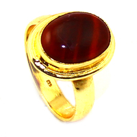 Unique 24ct Gold Plating 925 Sterling Silver Red Onyx Designer Ring