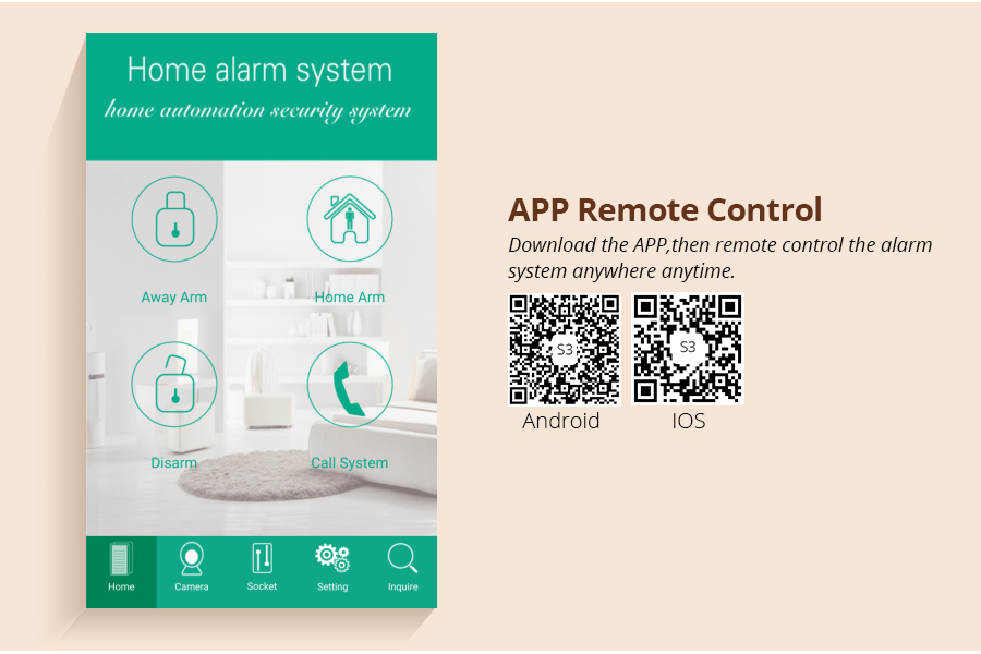 2017 Cheapest GSM alarm system Support remote control via APP/ phone calls home alarm