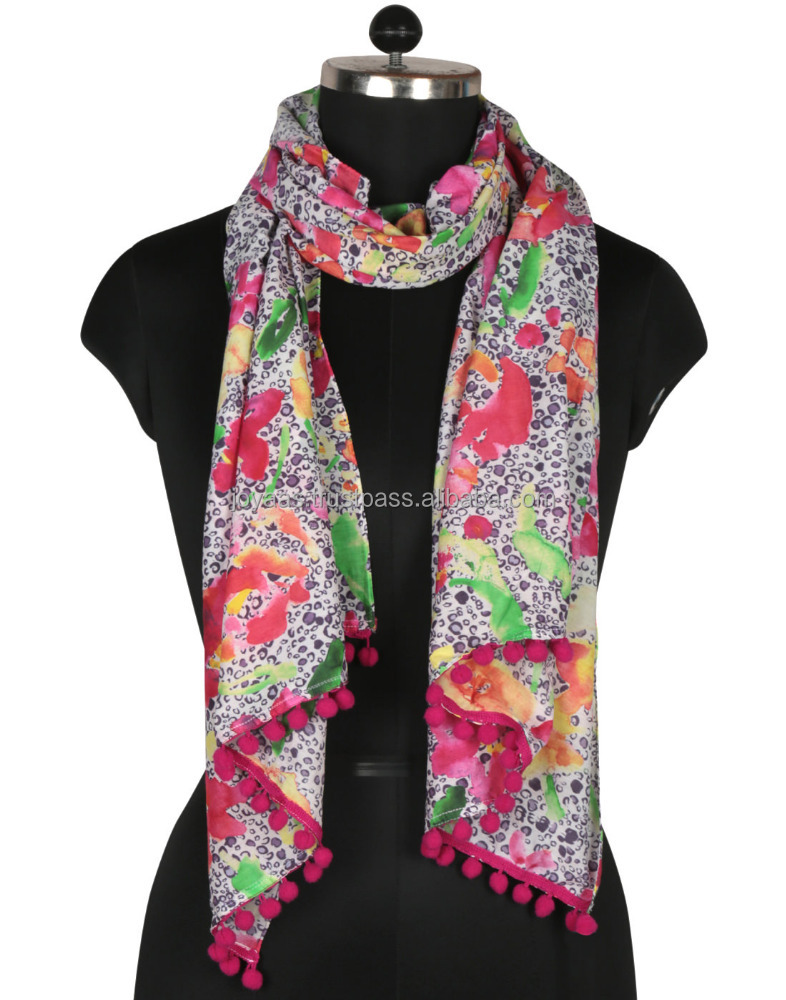 Digital Printed Silk Cotton Floral Multicolor Scarf