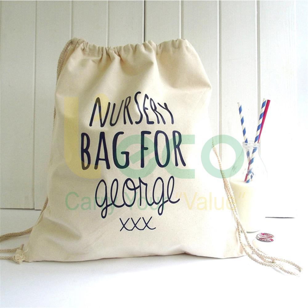 Custom Design Fashion Canvas Cotton Drawstring Bag / Backpack