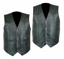 MENS HIGH QUALITY PREMIUM LEATHER VEST BIKER MOTORCYCLE CONCEALED CARRY-2 STYLE