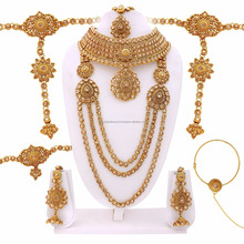 Full Traditional Gold Finished Bridal Dulhan Set 7 in 1