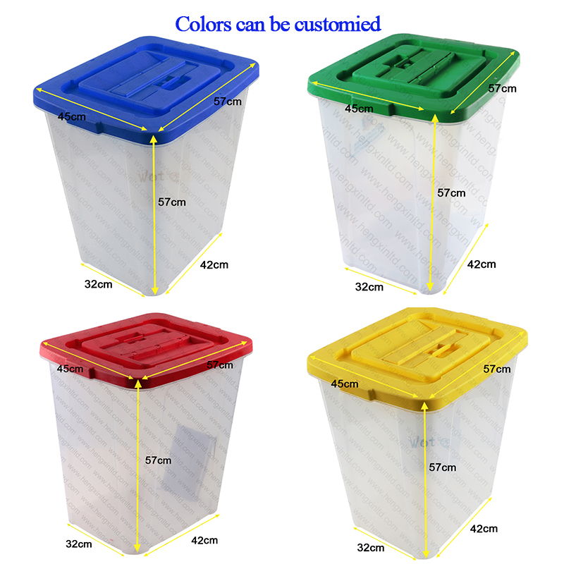 45/60/70/83/110L Factory wholesale PP transparent ballot box Plastic Voting Box with Security Seals