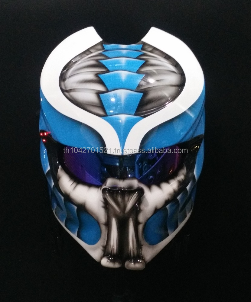 Predator Motorcycle Helmet Thailand Custom Craft DOT /ECE Approved Blue and White