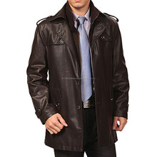 long leather coats for men/New Long dust coat for men leather Trench coats sheep skin wool lined warm leather Jacket