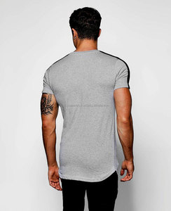 custom longline curved hem t shirt men high quality bulk blank t-shirts 100%