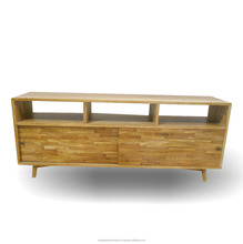 Home Furniture - Classic Mid Century Wooden TV Stand Sliding Doors With Veneer Motif