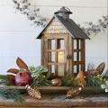 Wooden Metal Shed Lantern | Wood Hurricane Large Candle Lantern | Hanging Candle Holder Lantern