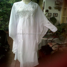 Pure white girls Arabic Embroidered Stone Work Kaftan/ abaya woman dress 2012/ cool kaftan for summer wear
