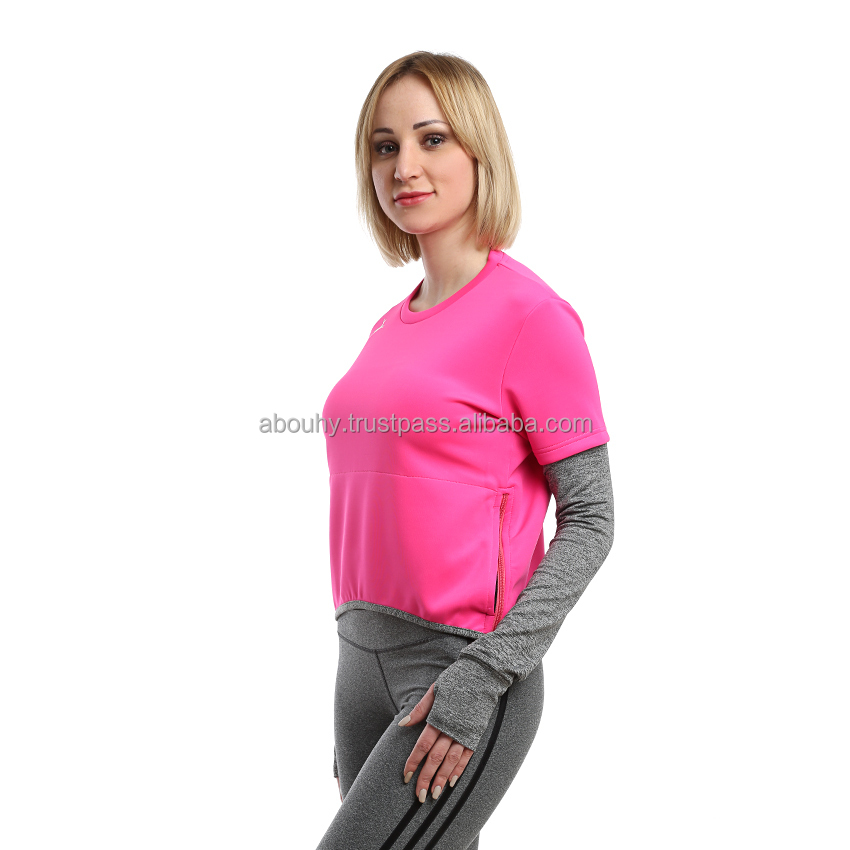 2 side Zippers Sportive shirt Women Gymwear