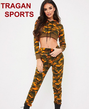 Orange Camouflage Tracksuit Ladies Crop Hooded Tracksuits