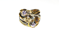 Hot Selling Black Gold Plated 925 Sterling Silver Citrine & Amethyst Gemstone Faceted Ring, Handmade Women Silver Jewelry