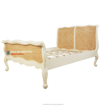 Antique White French Rattan Bed