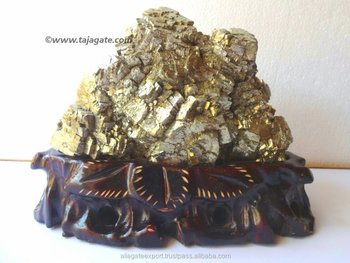 Natural Pyrite Cluster with Wooden Stand | Agate Natural Stones