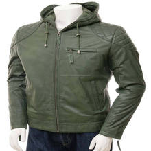Hoody leather jacket motorbike winter jackets