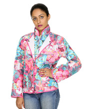 Floral Printed Full Zip Machine Quilted Cotton Reversible Winter Jacket For Women