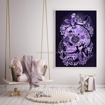 Indian 2017 Tapestry Throw Cotton Wall Decor Skull Yoga Mat Meditation Wall Hanging