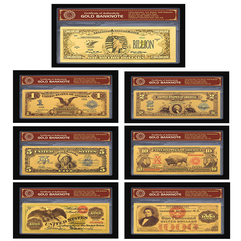 Full set of Rare 1899 &1901 Edition America Gold Banknote Set