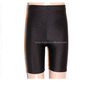 Black Nylon Lycra Dance Gym Sports Running Cycle Shorts
