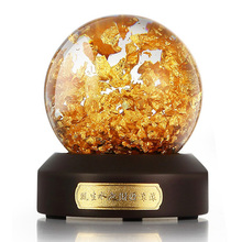 Gold Flakes Snow Ball Souvenir Water Glass Globe
