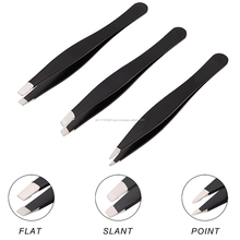 Matt black platted sharp straight Eyebrow Tweezers