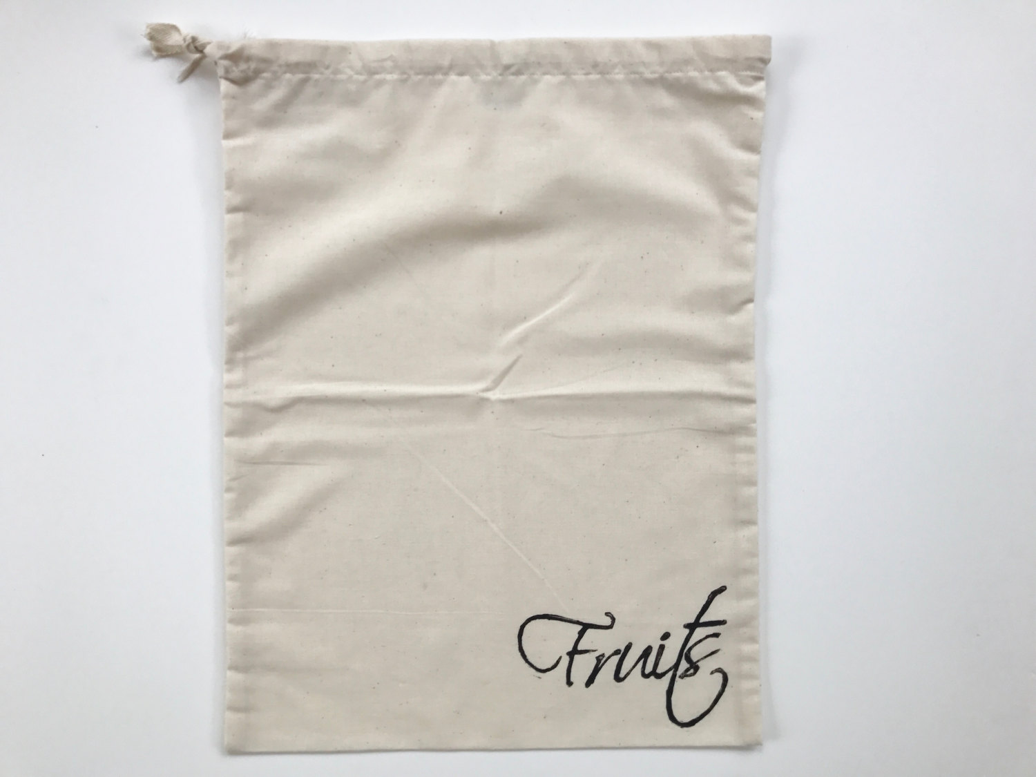 Reusable eco friendly packaging unbleached cotton produce drawstring bag