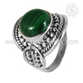 Green malachite gemstone ring handmade 925 sterling silver rings indian jewelry wholesale